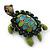 Vintage Inspired Green Enamel, Crystal 'Turtle' Brooch In Bronze Tone - 43mm Length - view 6