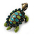 Vintage Inspired Green Enamel, Crystal 'Turtle' Brooch In Bronze Tone - 43mm Length