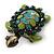 Vintage Inspired Green Enamel, Crystal 'Turtle' Brooch In Bronze Tone - 43mm Length - view 2