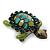 Vintage Inspired Green Enamel, Crystal 'Turtle' Brooch In Bronze Tone - 43mm Length - view 7