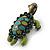 Vintage Inspired Green Enamel, Crystal 'Turtle' Brooch In Bronze Tone - 43mm Length - view 4