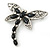 Silver Tone Filigree With Black Stone 'Dragonfly' Brooch - 70mm Width - view 3
