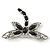 Silver Tone Filigree With Black Stone 'Dragonfly' Brooch - 70mm Width - view 4