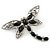Silver Tone Filigree With Black Stone 'Dragonfly' Brooch - 70mm Width - view 5