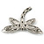 Silver Tone Filigree With Black Stone 'Dragonfly' Brooch - 70mm Width - view 6