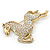Large Swarovski Crystal 'Horse' Brooch In Gold Plating - 70mm Length - view 2