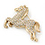 Large Swarovski Crystal 'Horse' Brooch In Gold Plating - 70mm Length - view 3