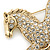 Large Swarovski Crystal 'Horse' Brooch In Gold Plating - 70mm Length - view 4