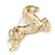 Large Swarovski Crystal 'Horse' Brooch In Gold Plating - 70mm Length - view 5