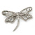 Large Crystal 'Dragonfly' Brooch In Silver Tone - 75mm Width