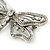 Large Crystal 'Dragonfly' Brooch In Silver Tone - 75mm Width - view 3