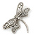 Large Crystal 'Dragonfly' Brooch In Silver Tone - 75mm Width - view 4
