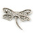 Large Crystal 'Dragonfly' Brooch In Silver Tone - 75mm Width - view 5