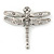 Silver Tone Textured, Crystal 'Dragonfly' Brooch - 70mm Width