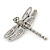 Silver Tone Textured, Crystal 'Dragonfly' Brooch - 70mm Width - view 5