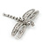 Silver Tone Textured, Crystal 'Dragonfly' Brooch - 70mm Width - view 3