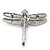 Silver Tone Textured, Crystal 'Dragonfly' Brooch - 70mm Width - view 7