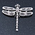 Silver Tone Textured, Crystal 'Dragonfly' Brooch - 70mm Width - view 2