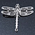 Silver Tone Textured, Crystal 'Dragonfly' Brooch - 70mm Width - view 6