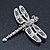 Silver Tone Textured, Crystal 'Dragonfly' Brooch - 70mm Width - view 8