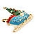 Gold Plated Multicolored Enamel, Crystal Christmas Sleigh Brooch- 53mm Length - view 3