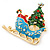 Gold Plated Multicolored Enamel, Crystal Christmas Sleigh Brooch- 53mm Length - view 4