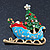 Gold Plated Multicolored Enamel, Crystal Christmas Sleigh Brooch- 53mm Length - view 5