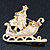 Gold Plated Multicolored Enamel, Crystal Christmas Sleigh Brooch- 53mm Length - view 6