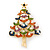 Multicoloured Enamel Simulated Pearl Christmas Tree Brooch In Gold Plating - 55mm Length - view 3