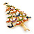 Multicoloured Enamel Simulated Pearl Christmas Tree Brooch In Gold Plating - 55mm Length - view 8