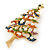 Multicoloured Enamel Simulated Pearl Christmas Tree Brooch In Gold Plating - 55mm Length - view 4