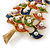 Multicoloured Enamel Simulated Pearl Christmas Tree Brooch In Gold Plating - 55mm Length - view 7