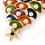Multicoloured Enamel Simulated Pearl Christmas Tree Brooch In Gold Plating - 55mm Length - view 5