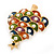Multicoloured Enamel Simulated Pearl Christmas Tree Brooch In Gold Plating - 55mm Length - view 9
