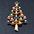Multicoloured Enamel Simulated Pearl Christmas Tree Brooch In Gold Plating - 55mm Length - view 2