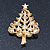 Multicoloured Enamel Simulated Pearl Christmas Tree Brooch In Gold Plating - 55mm Length - view 6