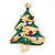 Multicoloured Austrian Crystals Green Enamel Christmas Tree Brooch In Gold Plating - 55mm Length - view 3