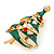 Multicoloured Austrian Crystals Green Enamel Christmas Tree Brooch In Gold Plating - 55mm Length - view 4