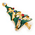 Multicoloured Austrian Crystals Green Enamel Christmas Tree Brooch In Gold Plating - 55mm Length - view 5