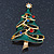 Multicoloured Austrian Crystals Green Enamel Christmas Tree Brooch In Gold Plating - 55mm Length - view 2