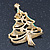 Multicoloured Austrian Crystals Green Enamel Christmas Tree Brooch In Gold Plating - 55mm Length - view 6