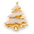 Gold Plated With Snow Effect 'Christmas Tree' Brooch - 6cm Length - view 3