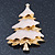Gold Plated With Snow Effect 'Christmas Tree' Brooch - 6cm Length - view 2