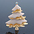Gold Plated With Snow Effect 'Christmas Tree' Brooch - 6cm Length