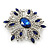 Stunning Navy Blue, Clear Austrian Crystal Corsage Brooch In Rhodium Plating - 60mm Length - view 6