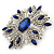 Stunning Navy Blue, Clear Austrian Crystal Corsage Brooch In Rhodium Plating - 60mm Length - view 7
