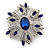 Stunning Navy Blue, Clear Austrian Crystal Corsage Brooch In Rhodium Plating - 60mm Length - view 8