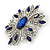 Stunning Navy Blue, Clear Austrian Crystal Corsage Brooch In Rhodium Plating - 60mm Length - view 3
