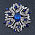 Stunning Navy Blue, Clear Austrian Crystal Corsage Brooch In Rhodium Plating - 60mm Length - view 2