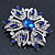 Stunning Navy Blue, Clear Austrian Crystal Corsage Brooch In Rhodium Plating - 60mm Length - view 4